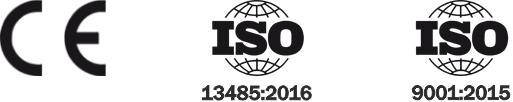 Certyfikaty: CE, ISO 13485:2012, ISO 9001:2008